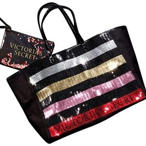 Victoria's Secret 2 Piece Set Sequin Bling Tote